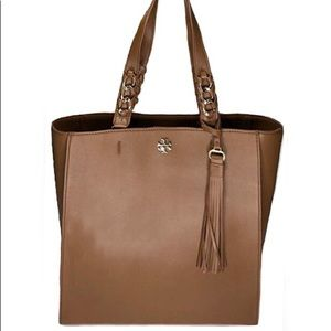Tory Burch Carter NS Leather Tote Natural Tan